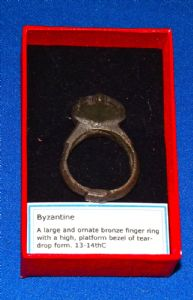 A large, impressive and wearable Byzantine bronze mans finger ring. SOLD